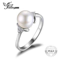 Jewelrypalace lujo 8mm * 8mm cultivadas de agua dulce de la perla de compromiso y boda anillo de plata de ley 925 de joyería fina para mujeres