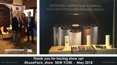 #LuxePack_show New York 2018  Thank you once again for visiting us at Luxe Pack New York! Great new technologies and sustainable products for new opportunities to expand your projects in the US.  If you missed visiting us at our booth, feel free to ask for samples, we will send you a bunch of Sensational Brochures!
