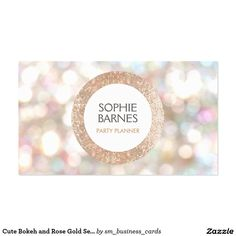 Cute Bokeh and Rose Gold Sequin Event Planner 2 Pack Of Standard Business Cards