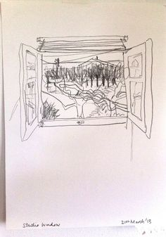 studio window pencil on paper