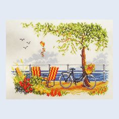 Bicycle by the Sea - counted cross-stitch kit Vervaco