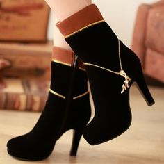 Ericdress Contrast Color Side Zip High Heel Boots in 2020 Dr Shoes, Cute Shoes Heels, Hype Shoes, Pretty Shoes, High Heel Boots, Heeled Boots, Shoe Boots, High Heels, Fashion Heels
