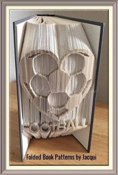 Football Heart. Book Folding Pattern by JHBookFoldPatterns on Etsy