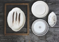 Thoughts from Alice: the collector - antique ironstone, transferware, gold frames and feathers - simple, eclectic gallery wall for dining room