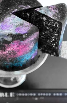A starry galaxy cake inspired by photographic images from the Hubble Telescope