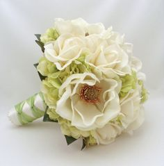 Bridal Bouquet with Real Touch Magnolias by SongsFromTheGarden