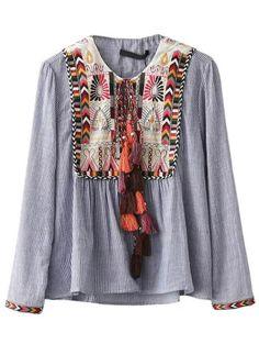 Blusa a rayas verticales con bordado y cordón - azul  -Spanish SheIn(Sheinside)