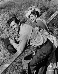 THE LAWLESS BREED (1953) - Rock Hudson (who portrays Texas gunman 'John Wesley Hardin') with Julie Adams - Universal-International - Publicity Still.