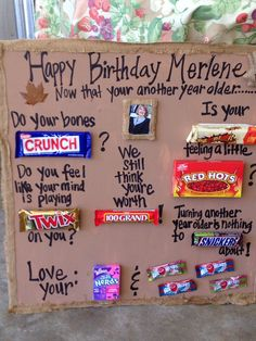 Birthday candy bar poem