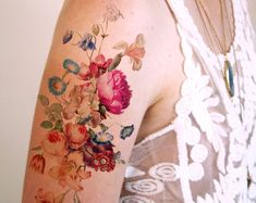 Are you in love with floral temporary tattoos? We have the prettiest floral temporary tattoos for sale! Fake Tattoos, Pretty Tattoos, Beautiful Tattoos, Temporary Tattoos, Body Art Tattoos, Sleeve Tattoos, Word Tattoos, Vintage Blume Tattoo, Vintage Flower Tattoo
