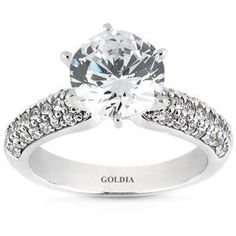 2.60 Ct. Diamond Engagement Ring with Side Diamonds