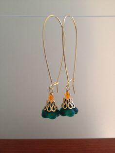 GREEN FLOWER BELL Glass Drop Earrings by besboutique on Etsy