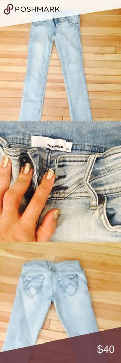 Women fashion trendy jeans from Europe Women fashion trendy jeans from Europe  European size 38 its like us size small/medium  Eye catcher  Light jeans color  From Tally Weijl Original Never worn like new   Before $110 now $40 Little stretchy tally weijl Jeans Straight Leg