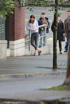 Dakota Johnson as Anastasia Steele on the set of Fifty Shades of Grey movie