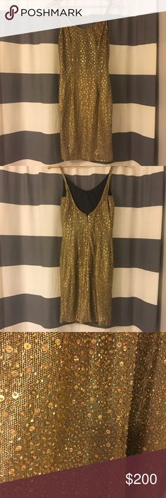 """Gold Sequin Fitted Vintage Cocktail Dress Vintage and stunning. Black Tie brand. Dress is a 6 but fits more like 2/S. For reference, I am 5'2"""" 32C, 115lb. Black Tie Dresses Mini"""