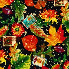 Fall Retreat Changing Season Metallic Paintbrush 100/% Cotton Fabric by the yard