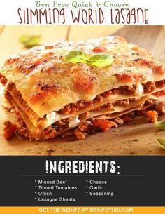 Slimming World Lunch Ideas, Slimming World Free, Slimming World Dinners, Slimming World Recipes Syn Free, Slimming Eats, Aldi Slimming World Syns, Slimming World Lasagne, Slimmers World Recipes, Easy Healthy Recipes