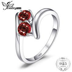 7ca67695bb acquistare JewelryPalace Modo 0.95ct Naturale Rosso Granato 2 Pietra Fedi  Nuziali anelli di Amore 925