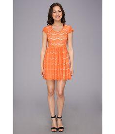 kensie Floral Lace Dress Iced Orange Combo - 6pm.com