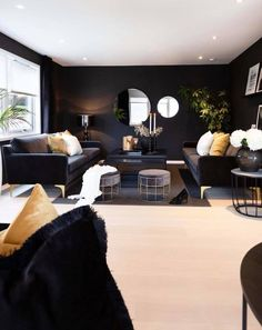 Dark Living Rooms, Beautiful Living Rooms, Black Rooms, 139, Best Interior Design, Black Decor, Living Room Designs, Interior Architecture, Decoration