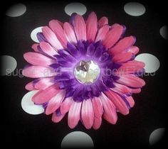 hot pink and purple flower clip