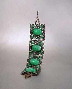 Art Deco Czech Bracelet Green Peking Glass by sodear2myheart, $210.00