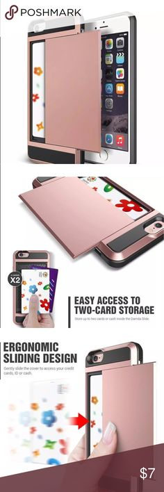 iPhone 5S Card Slot Case HDuty Hybrid Shockproof Brand New in Box 2in1 Hybrid Shockproof Rubber Case Cover. Card Pocket, Wallet pouch in Rose Gold color Accessories Phone Cases