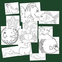Dibujos para colorear de Animales marinos, simpáticas láminas para colorear y crear un ambiente marino para enseñar en clase.