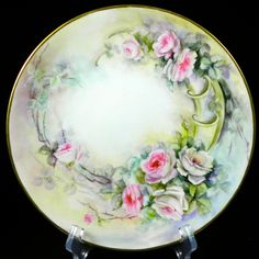 J. Pouyat Limoges Artist Signed All Hand Painted Cabinet Plate Pink Roses   1932