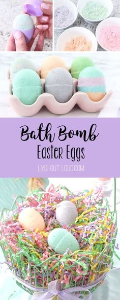 DIY Bath Bomb Easter Eggs - what a cute Easter basket stuffer or holiday hostess gift!