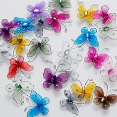 Hair & Head Jewelry Sheer Nylon Crystal Wire Butterfly W/ Rhineston Party Decorations Nylon Flowers, Diy Flowers, Fabric Flowers, Paper Flowers, Peony Flower, Butterfly Crafts, Butterfly Wings, Flower Crafts, Decor Crafts