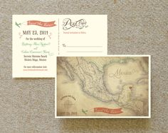 Vintage Map Postcard Save the Date (Mexico)