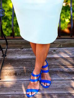 mint skirt and cobalt blue heels