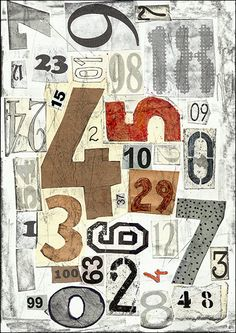 PRINT Art  illustration sketch drawing abstract Numbers - gift Abstract Mixed media collage home decor design By Mirel E.Ologeanu