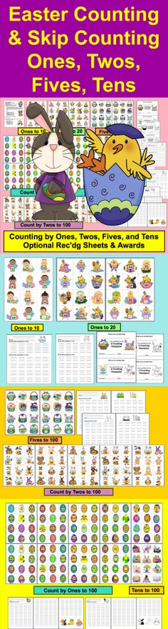 $ Easter Math Centers Counting and Skip Counting Activities - 6 Activities- 38 Page Download Themes: Easter Kids, Easter Rabbits, Easter Chicks, Easter Eggs, Easter Baskets and more… introduction to or review of counting and skip counting by ones, twos, fives and tens to 100.
