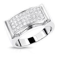 Mens Diamond Gold Ring by Luxurman 0.8ct 14K Wedding Band