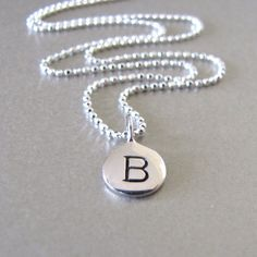 Silver Initial Charm Necklace  by tangerinejewelryshop on Etsy, $39.00