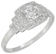 Art Deco 0.78ct Diamond Platinum Engagement Ring
