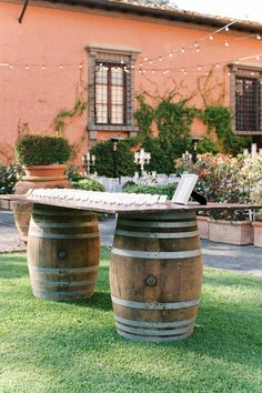 """From the editorial """"This Stunning 15th Century Tuscan Venue Was Rumored to Have Been Designed by Michelangelo Himself."""" On SMP.com, you'll find the full gallery captured by @kirandiraphotography which includes breathtaking views, Hollywood glam decor, and even the bride's DIY invitations, hand-painted welcome signs, and table numbers! ✨ #winebarrel #rusticdecor #rusticwedding #weddingdecor #weddingideas Wedding Seating Display, Wedding Seating Cards, Outdoor Wedding Reception, Wedding Reception Decorations, Mod Wedding, Wedding Shot, Garden Wedding, Chic Vintage Brides, Funny Wedding Photos"""