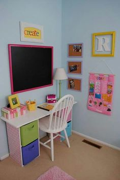 Homework center for little Maisee. Id move the blackboard to somewhere she can reach better
