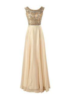 $189.99 Long A-Line Beading Floor-length Chiffon Prom Dresses 2017