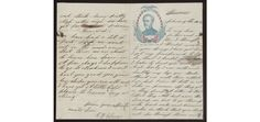 A letter home from Charles F. Glover, a Civil War Union soldier in Company G of the 23rd Massachusetts Infantry, describing the Battle of Roanoke Island. A portrait of Major General John A. Dix with a patriotic vignette in blue and red decorates the first page.