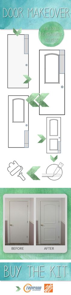 For all you DIY'ers out there, this product is very easy to install and gave my doors the look of raised-panel doors without the mess or cost of replacing my flat doors. I painted my doors black but you can use white or any color of your choosing once the kit has been installed.   If you purchase 2 or more kits, the shipping is included at http://www.homedepot.com/s/ez-door?NCNI-5.