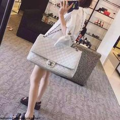 Chanel Metallic Calfskin XXL Large Classic Flap Bag A91169 S/S 2016 Women's Handbags Wallets - http://amzn.to/2huZdIM