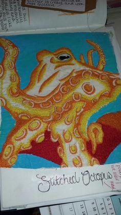Student LW #sealife #underthesea #sketchbook #octapus #machineembroidery #texture #colour