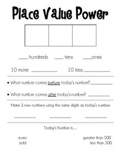 These tiered activity sheets allow students ample practice with place value concepts.  If laminated or put in a page protector, students can use th...