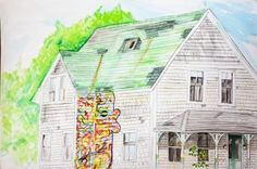 For the past nine months, Mr. Alan Byron Hampshire has documented the town  of Vineyard Haven with a series of watercolor paintings. This month, he will unveil the fruits of his labors with a show at Mocha Mott's.