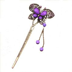 Yazilind Traditional Chinese vivid butterfly  inlaid crystal rhinestone bead antique brass  metal decorative hair pin stick with dangle tassel - agate purple Yazilind, HAIR ACCESSORIES to buy just click on amazon here  http://www.amazon.com/dp/B00DQHX1IM/ref=cm_sw_r_pi_dp_oKREsb0QNYW1R0A0