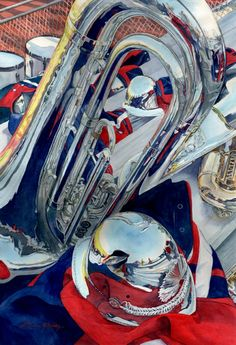 Original watercolor painting by Lorraine Watry, Shows Over, is a close-up of a tuba and marching band equipment. Shows Over was published in Splash Best of Watercolor. Ap Studio Art, Realistic Paintings, Ap Art, Still Life Art, Photorealism, Art Challenge, Fine Art Gallery, Watercolor Paintings, Watercolours