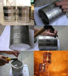 tinned lights would be great for outside around my patio set Diy Home Crafts, Cute Crafts, Crafts To Make, Outdoor Projects, Diy Projects, Bohemian Style Rooms, Recycled Tin Cans, Aluminum Cans, Boho Diy